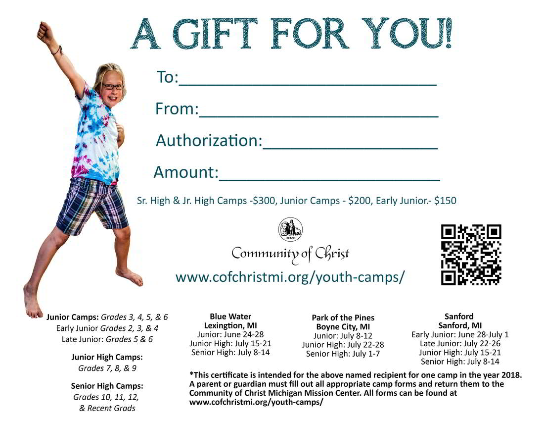 Youth Camp Gift Certificates Available